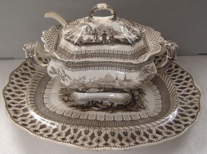 "Soup Tureen and Undertray in ""W Penns Treaty"" Pattern (1834-1854) by Thomas Godwin"